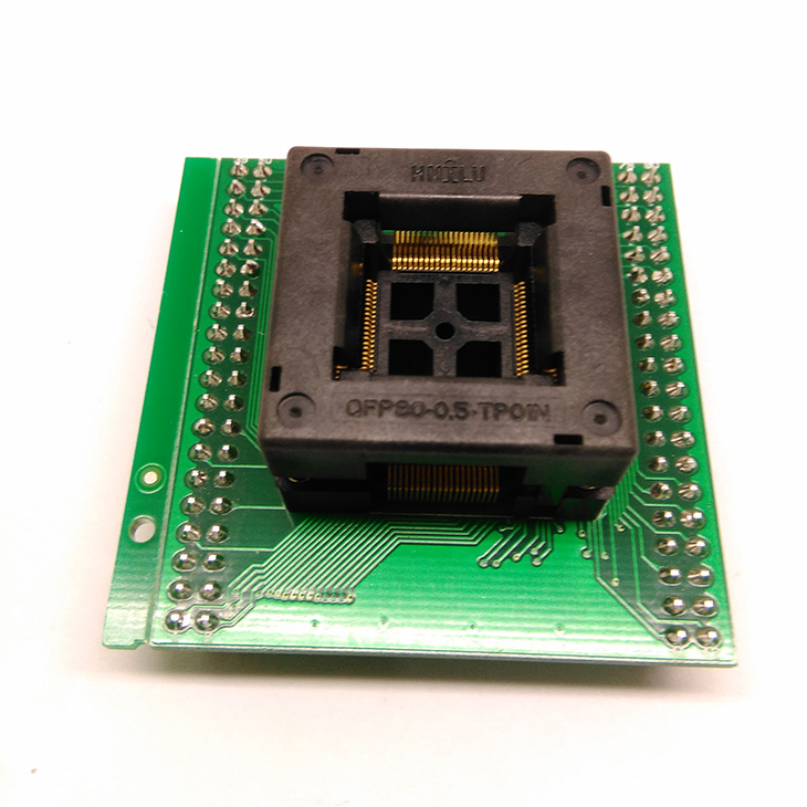 TQFP80 FQFP80 QFP80 to DIP80 Programming Socket OTQ-80-0.5-02B Pitch 0.5mm IC Body Size 12x12mm Test Adapter